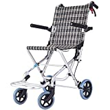 Wheelchair Fauteuil Roulant léger autopropulsé Pliable de Transport de Transport de Fauteuil Roulant en Alliage d'aluminium Personnes âgées...