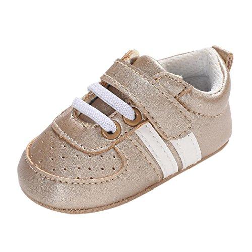 Primi Passi Bimba Scarpe Neonato Unisex in Pelle Morbida - Sneaker Antiscivolo 0-18 Mesi (età: 12~18 Mesi, Oro)