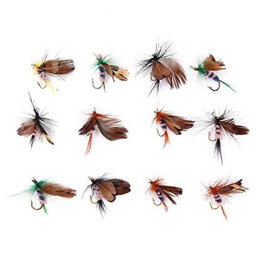 VORCOOL 12pcs Farfalla A Forma Di Esche Artificiali Mosca Gancio Pesca Accessori (Colore Casuale)