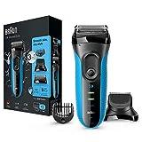 Braun Series 3 3010 BT W&D Afeitadora Eléctrica, Afeitadora Barba 3 en 1 con recortadora de precisión para Hombre, Azul