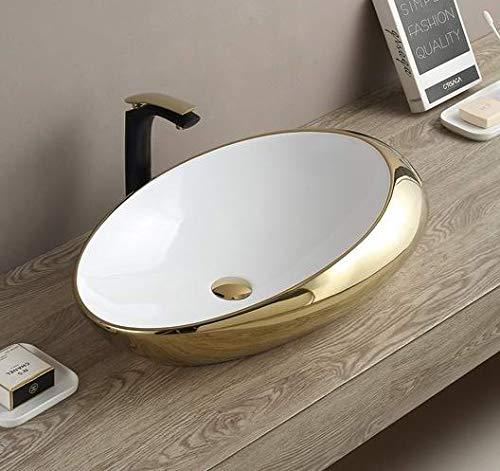 Table Top Premium Designer Ceramic Wash Basin/Vessel Sink Slim Rim Wash Basin for Bathroom Glossy White 20 x 12 x 5 Inch (White Gold)