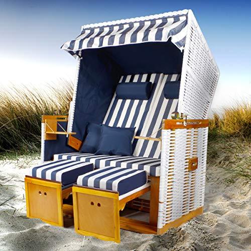 BRAST Strandkorb Nordsee XXL Volllieger Blau Weiß gestreift incl. Schutzhülle 2 Sitzer 120cm breit Gartenliege Sonneninsel Poly-Rattan