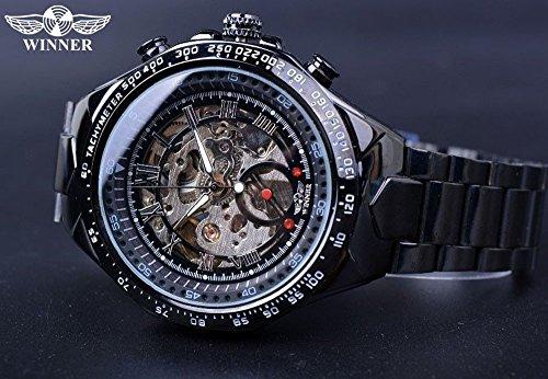 T-WINNER Designer Round Automatic Skeleton Sport Watch For Men (Black_Analog)