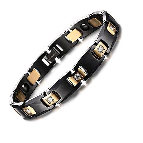 Asma Jewel House Asma Black Medical Care Ceramic Stainless Steel 18K Gold Plated Magnetic Hematite Bracelet For Men & Women