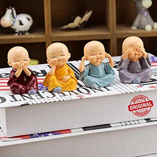 TIED RIBBONS Set of 4 Buddha Monks Statues Figurines Showpiece for Wall Shelf Table Desktop Living Room Decoration Home Office Decor (Multicolor)