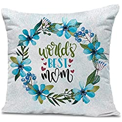 TIED RIBBONS 'World's Best Mom' Printed Cushion(12 inch x 12 inch) with Filler Gift for Mother