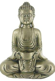 Buda luz del té vela titular adorno – acabado de oro antiguo – H27cm