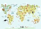 Decowood Handmade Mapa Mundi Poster Horizontal, Madera, Multicolor, 29,7 x 42 cm