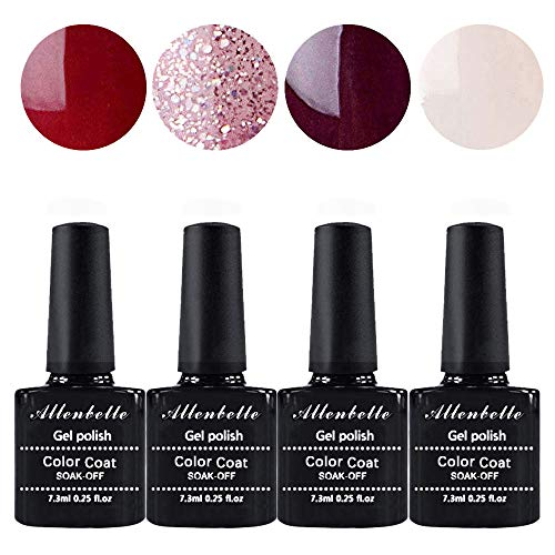 Allenbelle Esmaltes Permanentes Para Uñas Nail Art Soak Off UV LED Esmalte Permanente de gel (Lot 4...