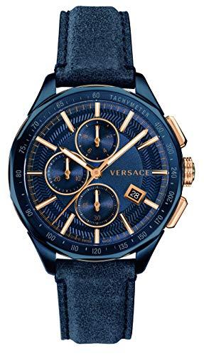 VERSACE uomo svizzero cronografo con cinturino in pelle blu Glaze VEBJ00318