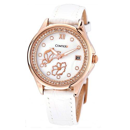 Reloj mujer de cuarzo,correa de piel color blanco,caja de oro rosa,reloj de mariposa