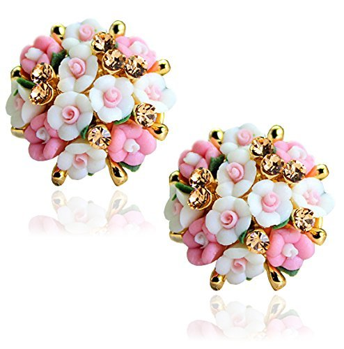 Yellow Chimes Fancy Flower Cubic Zirconia Stud Earrings for Women (Pink-White) (YCFJER-RESFLW-WHPK)