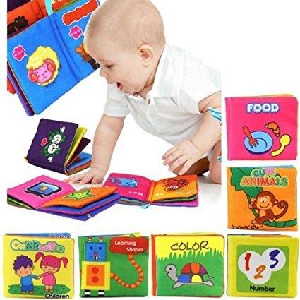 Yosoo Set di 6 Libri in Tessuto morbido, Adatto per bambini di età 3 mesi a 3 anni, 10 x 9cm,...