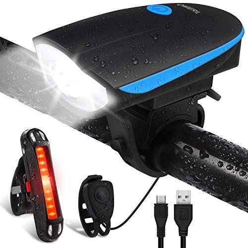 Luci per Bicicletta, OMERIL Luci Bicicletta LED Ricaricabili USB con Clacson, Luce Bici Anteriore e...
