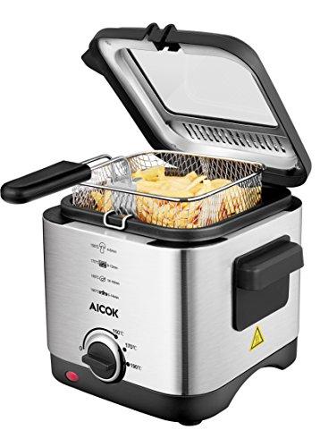 Aicok Friggitrice Mini in acciaio inox, friggitrice a olio con timer e controllo della temperatura,...