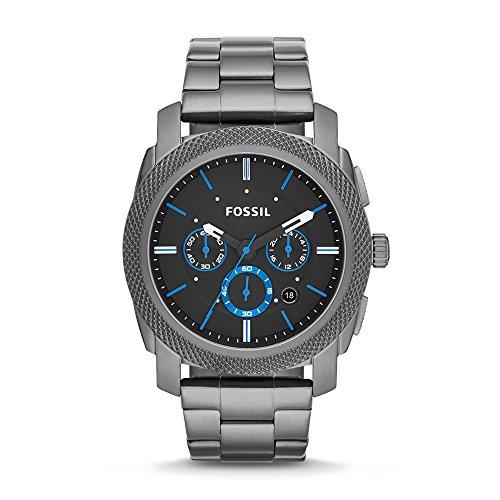 Fossil Herrenuhr Machine / Analoge, robuste Chronographen Uhr mit großem Ziffernblatt, Datumsanzeige & wechselbarem Edelstahl Armband - im zeitlosen Industrial-Look