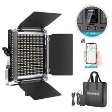 Neewer 528 LED Luz Video Kit Iluminación Fotografía Bicolor Regulable con Sistema de Control Inteligente App Profesional para Video Youtube con Pantalla LCD Metal 3200K-5600K