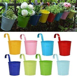 Ferro-Vaso per fiori, a forma di fiore in ghisa RIOGOO da 20 Vasi per piante, da balcone, vasi da giardino da parete in metallo, supporti per Father's Day Gifts d'
