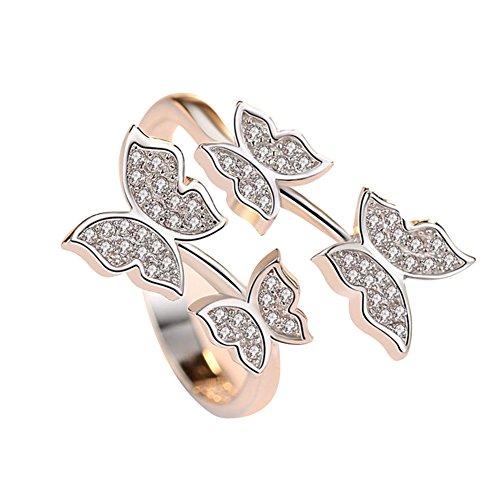 Cdet Anillo de mariposa rose anillos abiertos con regalos de joyería de piedra de zirconia cúbica de calidad superior para mujer