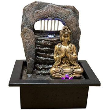 Zen' Light Buda Zen Dao Fuente, Resina, Bronce, 21x 17x 25cm 3