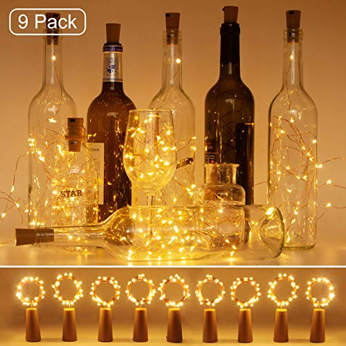 Luci per Bottiglia (9 pezzi), Litogo Luci Tappo LED a Batteria per Bottiglie, Filo di Rame Led Decorative Stringa Luci da Interni e Esterni per Festa, Giardino, Natalizie, Matrimonio (Bianco Caldo)