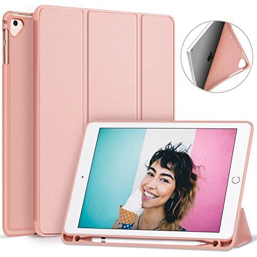 Ztotop Nuovo iPad 9.7 pollici 2017/2018 custodia con Built-in Apple Pencil Holder- cover posteriore leggera e soffice TPU. Supporto con Auto Sonno / Sveglia la funzione, Oro rosa