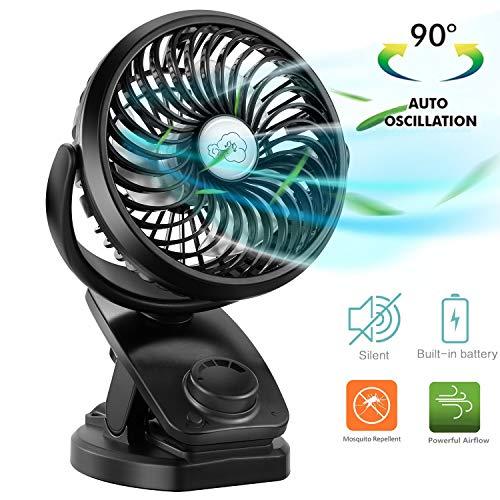 COMLIFE Ventilatore da Tavolo con Clip e Batteria, Ventilatore USB Oscillante con Batteria...