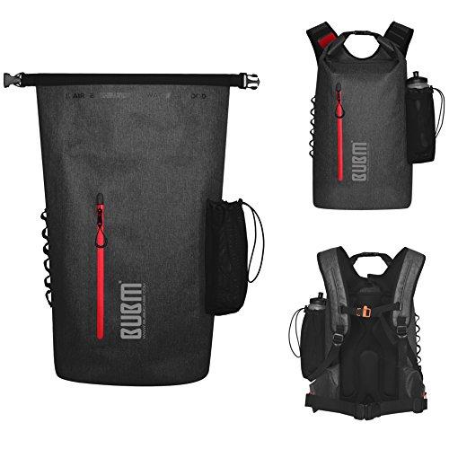 Mochila impermeable de viaje – BUBM (2018 nuevo diseño) 45L, 500D pvc, resistente bolsa seca al aire libre mochila con correas de hombro acolchadas para deportes al aire libre, viajes (Gris oscuro)