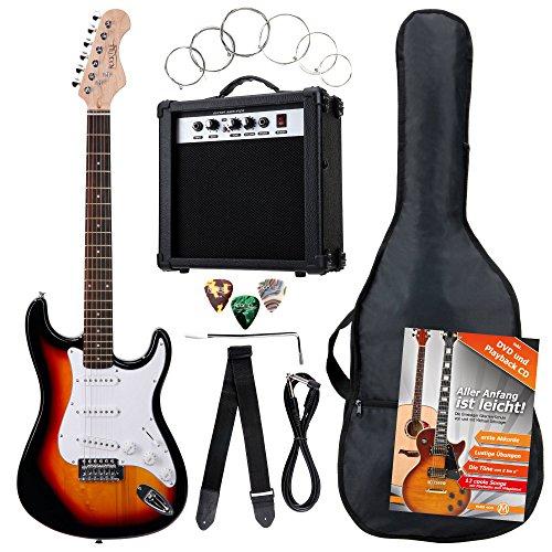 Rocktile Banger - Pack de 7 piezas, guitarra eléctrica color sunburst
