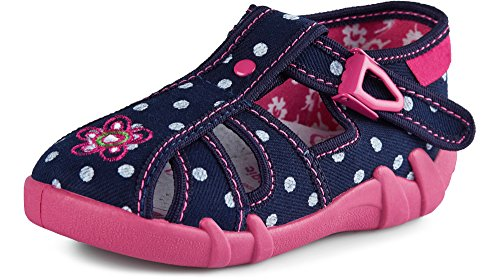 Ladeheid Pantofole Scarpine Bambino e Bambina LARB003 (Blu Navy Pois, 26 EU)
