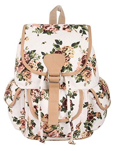 Crafts My Dream Women's Backpack Handbags Beige Rose Print Cmd176