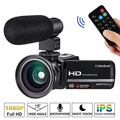 Videokamera Camcorder, Cofunkool 1080P Full HD 16X Digital Zoom Nachtsicht Vlogging Kamera mit externem Mikrofon Weitwinkelobjektiv Fernbedienung