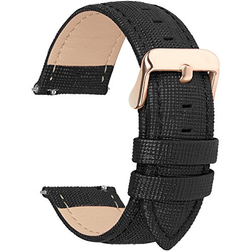 Fullmosa Cinturino per Orologio, Cinturini in Pelle 22mm, Cinturino Orologio per Samsung Gear S3 Classic/Frontier/Huawei Watch GT/GT 2 46mm / Moto 360 2nd Gen 46mm, per Uomo/Donna, 22mm Nero