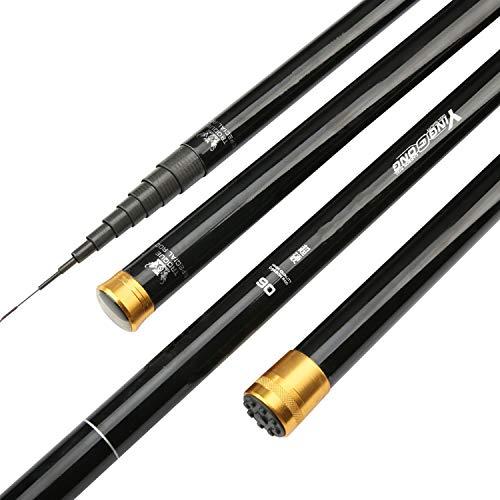 Alto tenore di Carbonio 8m 9m 10m 11m 12m 13m Power Pole Mano Canna da Pesca Hard Super Ultra Light telescopica Rod Stick Punta di Ricambio, 8m