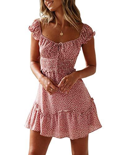 Ybenlover Damen Blumen Sommerkleid High Waist Volant Kleid Vintage Minikleid Strandkleid, Ziegelrot, M