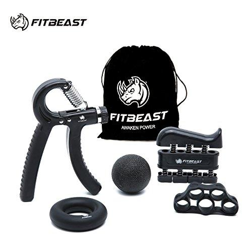 Kit de entrenamiento FitBeast, empuñadura de mano, empuñadura de antebrazo, paquete de 5 pinzas de mano ajustables, ejercitador de dedos, estirador de dedos, anillo de ejercicio y bola de agarre