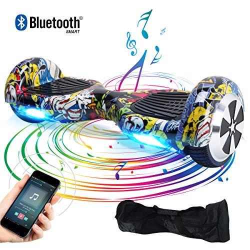 Windgoo Hoverboard Bluetooth 6,5 Pouces,Gyropode Smart Scooter 700W, Self Balance Board avec LED pour Enfants et Adultes