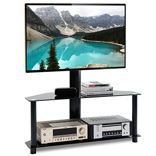 RFIVER Supporto TV da Pavimento Girevole Porta TV Stand per Schermi 32 a 55 pollici 2 Ripiani TW1001