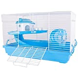Pink And Blue Hamster Cages With Bed Wheel Bottle Dish & Platform With Slide (Blue)