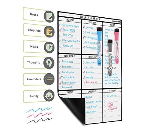 Lavagna magnetica A3 planning settimanale per frigorifero - Lavagnetta bianca promemoria da Plan...