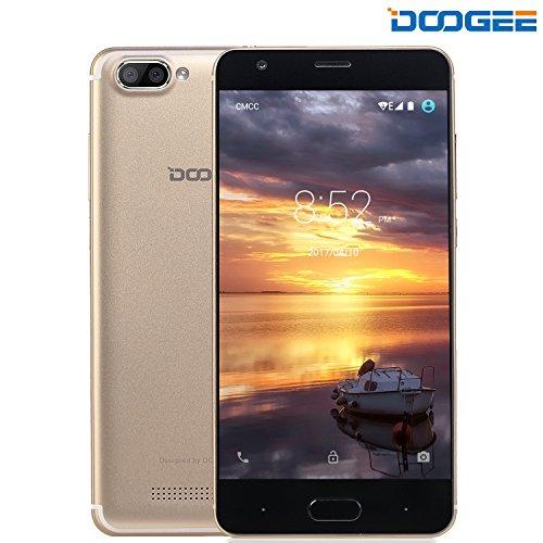Smartphone Ohne Vertrag, DOOGEE X20 Dual Sim Android 7.0 Handy, 3G Smartphones(5 Zoll HD IPS, MT6580 Quad Core Prozesso, 1GB RAM + 16GB ROM, 5.0MP Kamera, 2580mAh) - Gold