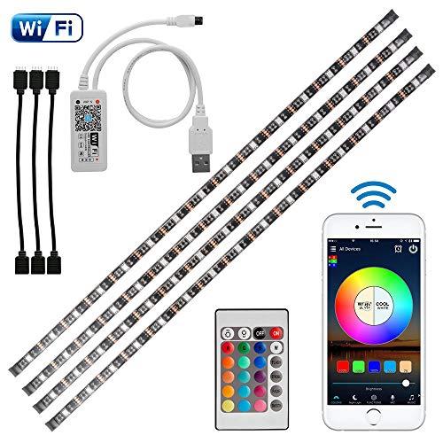 Kreema 4 pezzi 0.5 m WIFI USB RGB 5050SMD LED Light Strip Smart App Control TV flessibile Luce di sfondo con IR Remote