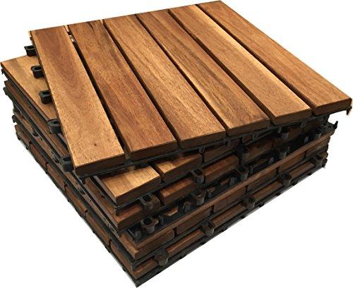 6x in legno massiccio di Acacia Tiles. a incastro in legno per giardino, Patio, terrazza, Hot Tub....