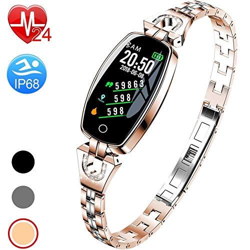 Fitness Tracker per Le Donne IP67 Impermeabile Smart Watch Activity Tracker Cardiofrequenzimetro...