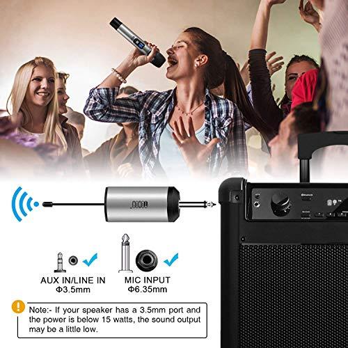 """TONOR Microphone sans Fil 25 Canaux UHF, avec Mini Récepteur Portable Sortie 1/4"""", pour Réunion d'Affaire/Maison/Karaoké/Église, Argent 6"""