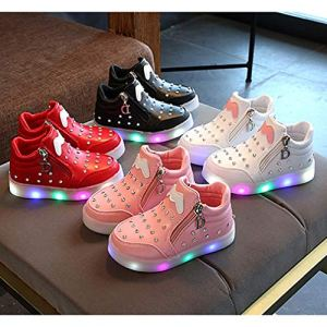 LED Light up Sneakers for Girls Baby Kids Casual Outdoor Walking Running Sports Shoes Fashion Flashing Luminous Anti-Skid Low Top Leather Shoes Trainers 51OEZTVveSL