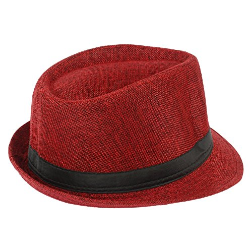 FULLY Cotton with Jute Summer Hat for Men for Sun Protection Maroon Pack Of 1