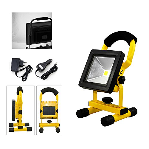 VINGO®10W LED Akku Fluter 900LM Baulicht Arbeitslampe Kaltweiss 2400MA Strahler Handlampe IP65 Tragbare Baustrahler