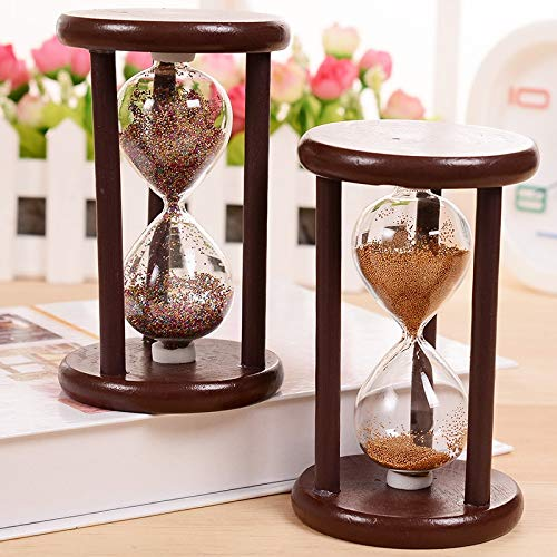 Strongwell DIY Vintage Hourglass Crafts Antique Style Sand Clock Calculagraph Brushing Make Tea Garden Ornaments Wood Saat Timer 7X7X12Cm