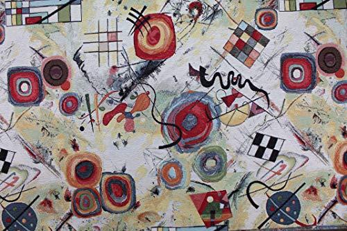Generico Tessuto al Metro Gobelin Jacquard opere di Kandinsky - Altezza 1,40 m - 1 QTA = 0,50 m lineare - per Cucire Borse, Tende, Cuscini, divani